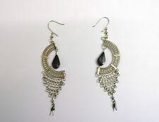 Boucles d'oreilles pierre Noire  péruvienne, commerce équitable pendante