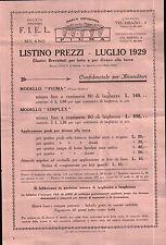 """VOLTANTINO PUBBLICITARIO LISTINO PREZZI """" F.I.E.L. MILANO """" MATERASSI 1929 20-16"""