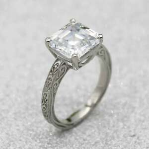 Perfect Asscher Shape 5.68 Carat White Cubic Zirconia Hand Engraved Vintage Ring