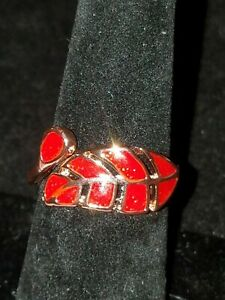 US SELLER ROSE GOLD RED FIRE OPAL SIMULATED OPEN FRONT ADJUSTABLE RING SIZE 7