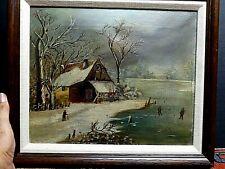 19th Century Folk Art Oil Painting Rural Scene Ice Skating VERY OLD PIECE