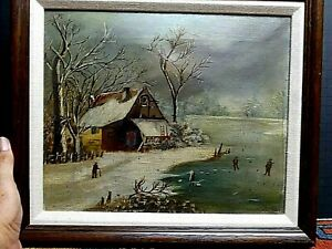 19th Century Folk Art Oil Painting Rural Scene Ice Skating VERY OLD PIECE