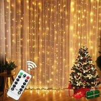 Curtain Fairy Lights USB String Hanging Wall Lights Party W/ Remote 100/300 LED