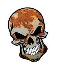 Ciclista cráneo gótico & Hoja De Metal Oxidado Óxido Ratlook Vinilo Coche Moto Adhesivo Calcomanía