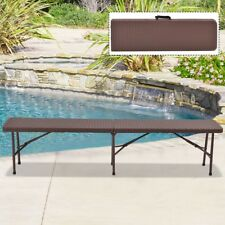 6' Foldable Home Rattan Table Bench Indoor Outdoor Picnic Party Camping Brown US