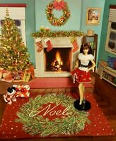 Large Holiday Tapestry Area Rug Barbie doll Tonner Alexander Gene Kitty Collier