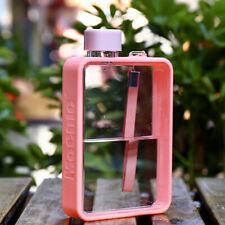 Stylish Flat Water Bottle Leak Proof, BPA free Clear Plastic Flask Pink