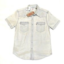 New Levis Barstow Pearl Snap Button Mens Denim Western Shirt Small Lightwash