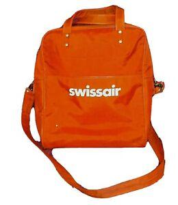 Vtg Swissair Airline Orange Carry On Luggage Overnight Tote Bag Shoulder Strap
