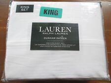 NEW* Ralph Lauren KING SHEET SET Cotton Sateen Dunham $115 RV Solid White