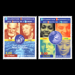 France 1998 - Anniversary of the Organization of Human Rights UN - Sc 2688/9 MNH
