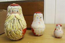 "Vintage 1940s Bearded Santa Claus 3 Christmas Wooden Nesting Doll Set 5.5"" Tall"