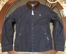 Ralph Lauren Gent's Flannel Lined Windbreaker Jacket Navy Blue Size Medium New !