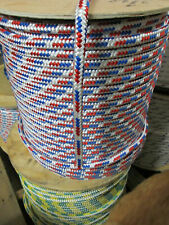 "1/4"" X 150' Sail,Halyard Line, Jibsheets, double braid rope Red/ Blue/ w 2100 lb"