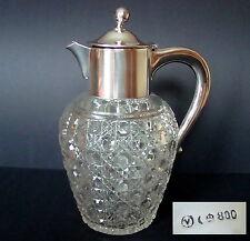 antike Kanne Karaffe Kalte Ente Dekanter Bleikristall 800er Silbermontur 883 Gr.