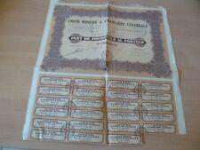 (Y3) TITRE ANCIEN ACTION 100 UNION MINIERE COLONIALE 1928 PART DE FONDATEUR