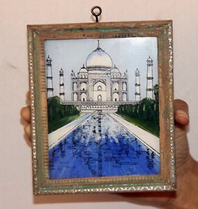Vintage Wooden Taj Mahal Painting Wall Hanging Frame With Glass 11474