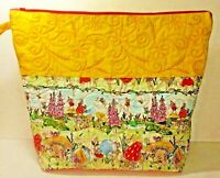 "Handmade Quilted Zipper Bag Pouch Yellow & Fairy Print Fabric 15"" x 19""x 6"" Lg"