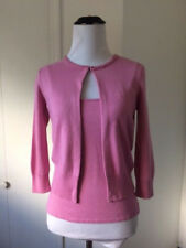 LAUNDRY BY SHELLI SEGAL 2PC CASHMERE SILK PINK JEWEL NECK CARDIGAN AND CAMI P