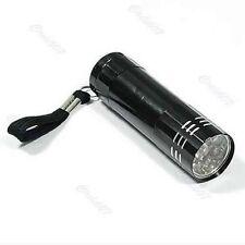 9 LED Bright Black Aluminum Flashlight Mini Small Torch Travel Camping Hiking