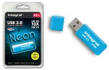 INTEGRAL 64gb Neón memoria flash USB 3.0 en azul - Hasta 10 x más rápido que 2.0