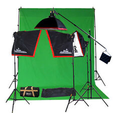 Fluorescent Lighting Kit With Boom Stand Muslin Photographic Lighting 20121