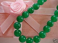 "16"" CHINESE GREEN JADE 8mm BEAD NECKLACE WOMEN MEN BIRTHDAY WEDDING PARTY B2"