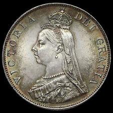 1887 Queen Victoria Jubilee Head Silver Double Florin, Arabic 1, AU