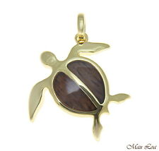 Koa Wood Hawaiian Honu Sea Turtle Yellow Gold Plated Brass Pendant