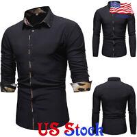 Men Slim Fit Shirt Leopard Print Contrast Lapel Long Sleeves Blouse Fashion Tops