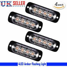 4PCS Amber Yellow Car Truck 4 LED Emergency Flash Warning Strobe Light Kit Bar