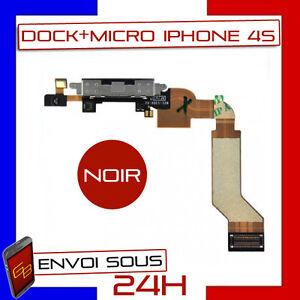 NAPPE DOCK CONNECTEUR DE CHARGE + MICRO POUR IPHONE 4S NOIR