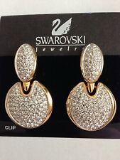 Swarovski Clear Crystal & Gold Huge Clip Earrings Signed - NWT