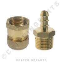"""BRASS 15mm COMPRESSION to 1/2"""" INCH BSP FEMALE + 8mm FULHAM NOZZLE GAS HOSE"""