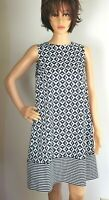 Marella Spring/Summer Dress Lined  Blue /White Geometric   NEW  Women's Size 4