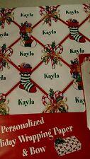 Personalized gift wrap wrapping Christmas xmas NIP Kayla  stockings 2 sheets