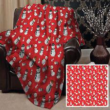 rouge bonhomme de neige Noël design polaire Doux Couverture Housse L&S motifs