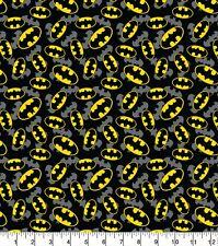 Batman Logo Overlay - 100% cotton print fabric - Black