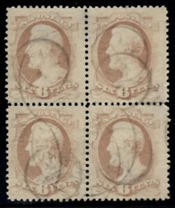 US #186, 6¢ Lincoln, Block of 4, used and quite scarce, VF/XF, showpiece