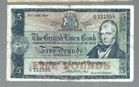 Scotland ✨1964 British Linen Bank 5 pounds ✨ Double Triple serial number 111 555