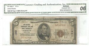 1929 $5.00 National Albany N.Y. Type 1 -C.G.A. Good