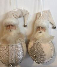 Katherine's Collection Retired Pair Of Snow Queen Santa Christmas Ball Ornaments