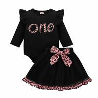 Baby Girls Letter Romper Tops Jumpsuit Tutu Skirt Newborn Outfits 2PCS Clothes