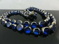 FAB ART DECO SAPPHIRE BLUE GLASS SILVER OVERLAY TWO ROWS GRADUATED NECKLACE