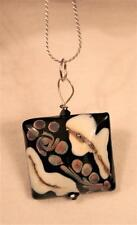 Unique Lampwork Glass Black White Caramel Spattered Square Wirewound Necklace