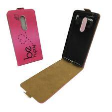 ZTE AXON 7 Handy Tasche Flip Case Schutz hülle Etui Wallet Cover be Happy Pink