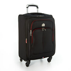 """DELSEY BLACK 20"""" CARRY-ON TROLLEY EXPANDABLE 4-WHEEL SPINNER LUGGAGE NEW!"""