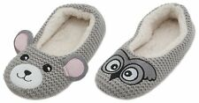 Zest Ladies Knitted Grey Ballet Slippers