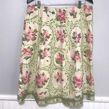 J JILL Skirt Sage Green Pink Floral Linen A Line Pleated Ruffled Hem Zipper Sz M