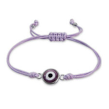 925 Sterling Silver Evil Eye With Beads Adjustable Purple Double Cord Bracelet